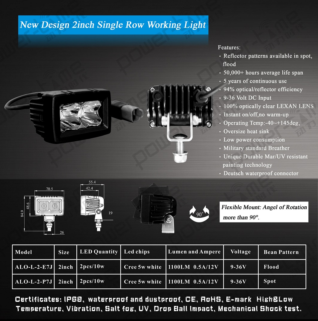 2inch New single Row working light